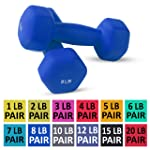 Neoprene Dumbbell Pairs by Day 1 Fitness - 12 Sizes - Non-Slip, Hexagon Shape, Color Coded, and Easy To Read Hand Weights...