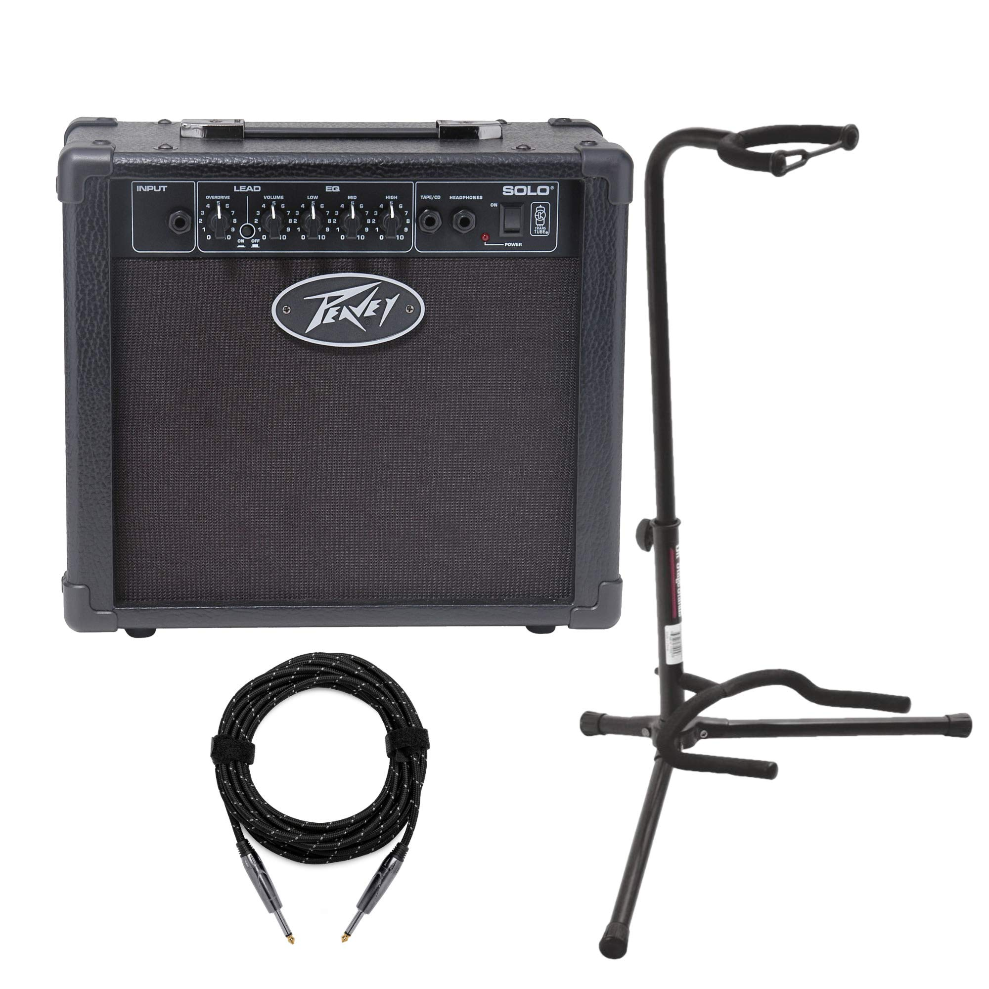Peavey Solo 12W Transtube Electric Guitar Amplifier with Guitar Stand and Cable by Peavey