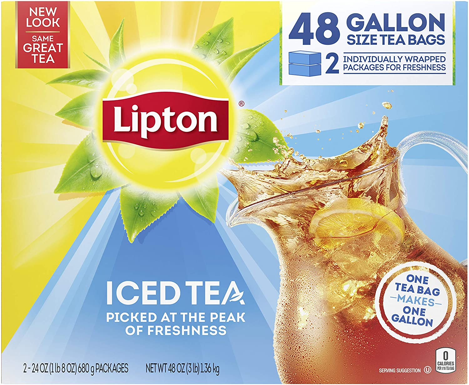 Lipton Gallon Sized Iced Tea Bags Picked At The Peak Of Freshness Unsweetened Can Help Support A Healthy Heart 48 Oz 48 Count Black Teas Grocery Gourmet Food