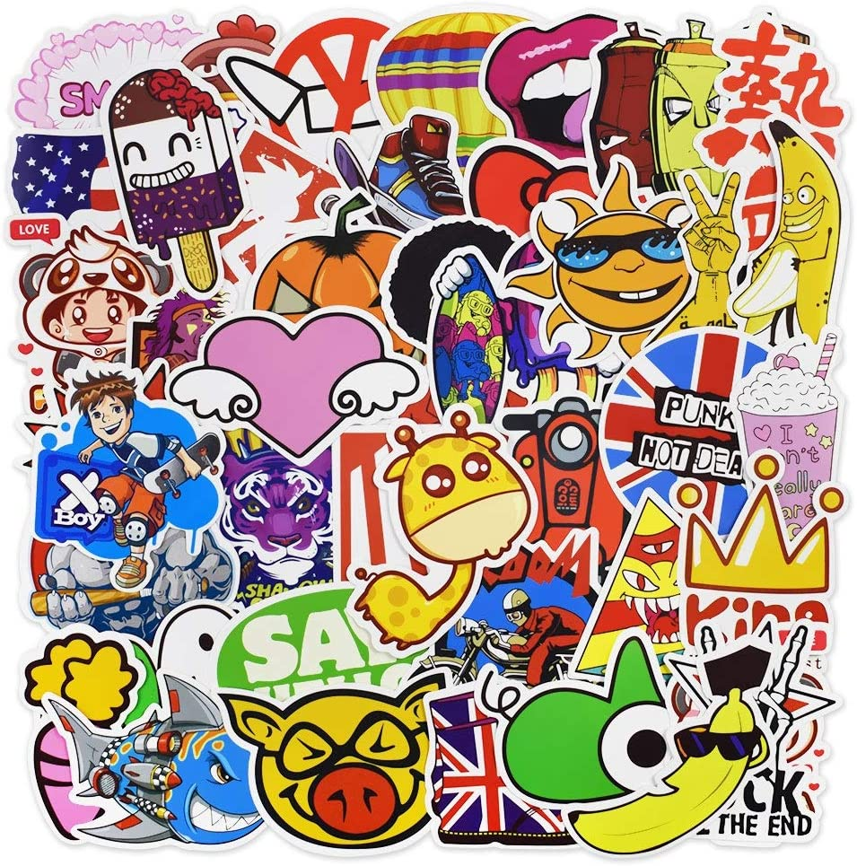Laptop Stickers, Water Bottle Stickers for Laptop Water Bottles Hydro Flask Car Bumper Skateboard Guitar Luggage Waterproof Vinyl Decals Cool Graffiti Stickers Pack (50 Pcs Cartoon Series A Stickers)