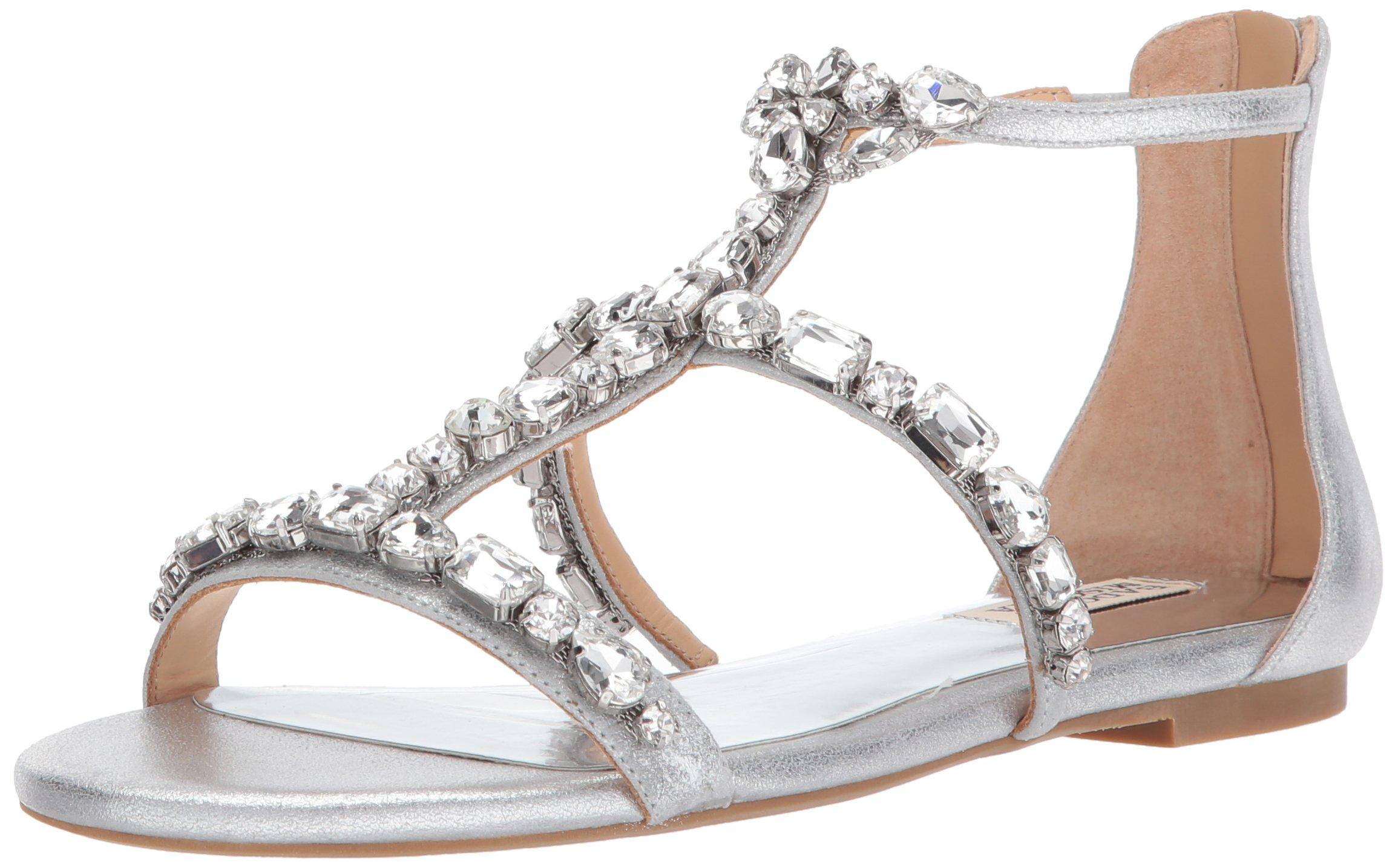 Badgley Mischka Women's Waren Flat Sandal, Silver, 8 M US