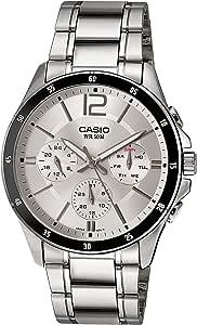 ساعة انالوج ستانلس ستيل بمينا فضي للرجال من كاسيو MTP-1374D-7AVDF