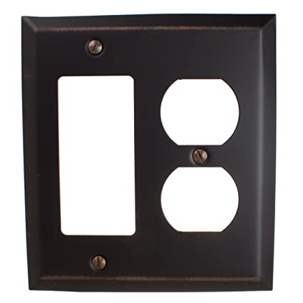 GlideRite Hardware Wall Plate Covers for Duplex Outlet and Rocker Light Switch Combination u2013 Steel 2  sc 1 st  Amazon.com & GlideRite Hardware Wall Plate Covers for Duplex Outlet and Rocker ...