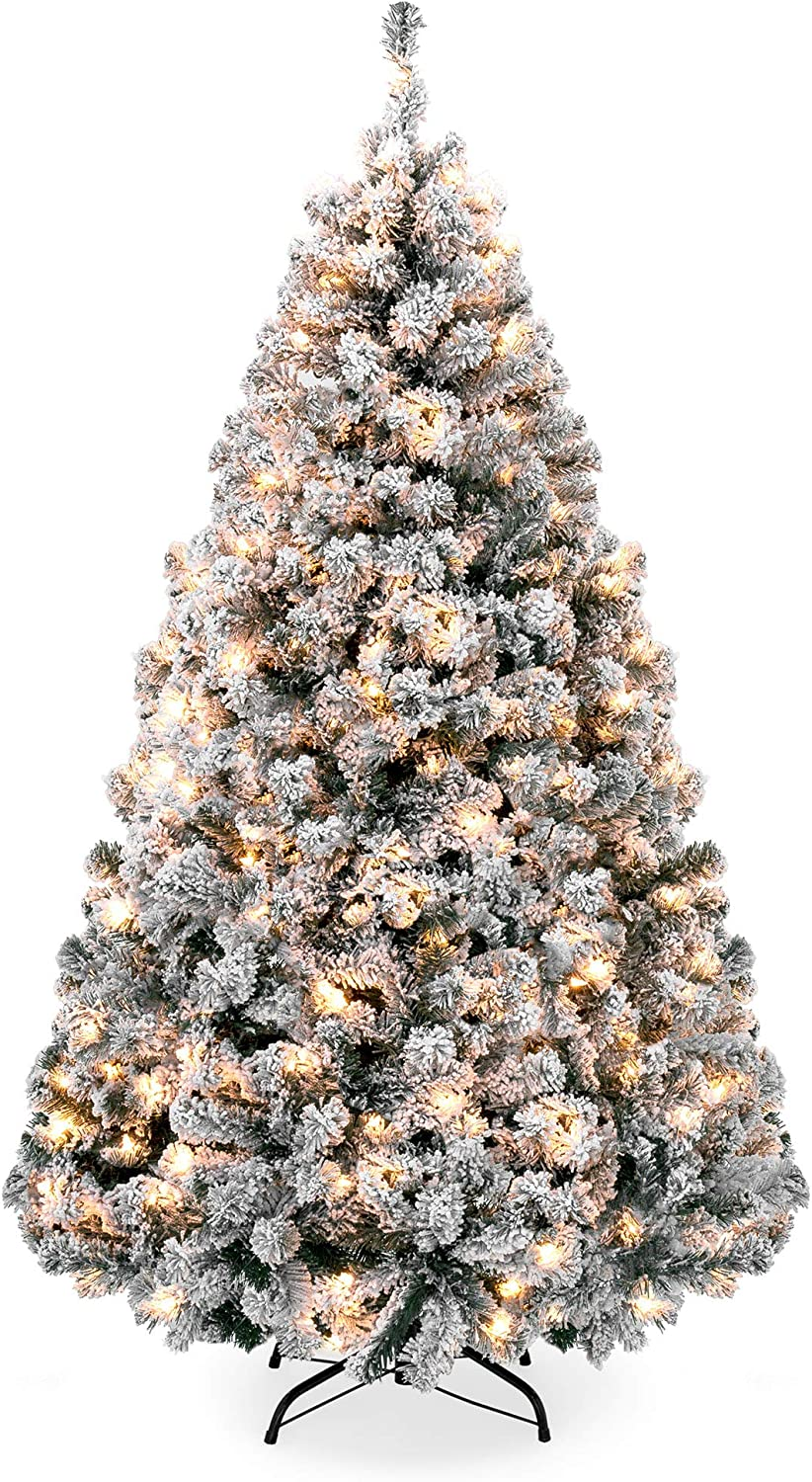 Best Choice Products 6ft Pre-Lit Snow Flocked Hinged Artificial Christmas Pine Tree Holiday Decor w/ 250 Warm White Lights