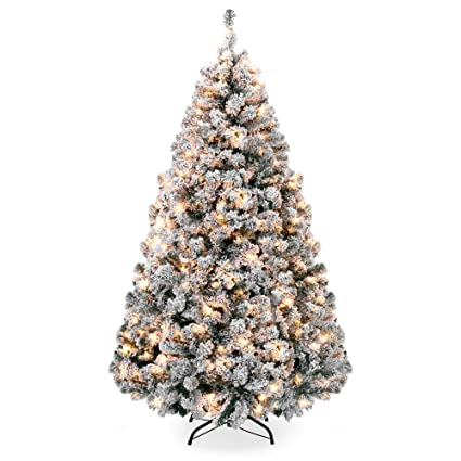 Best Choice Products 6ft Premium Pre-Lit Snow Flocked Hinged Artificial  Christmas Pine Tree Festive - Amazon.com: Best Choice Products 6ft Premium Pre-Lit Snow Flocked