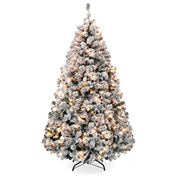 Best Pre Lit Artificial Christmas Trees.Best Choice Products 6ft Pre Lit Snow Flocked Hinged Artificial Christmas Pine Tree Holiday Decor W 250 Warm White Lights