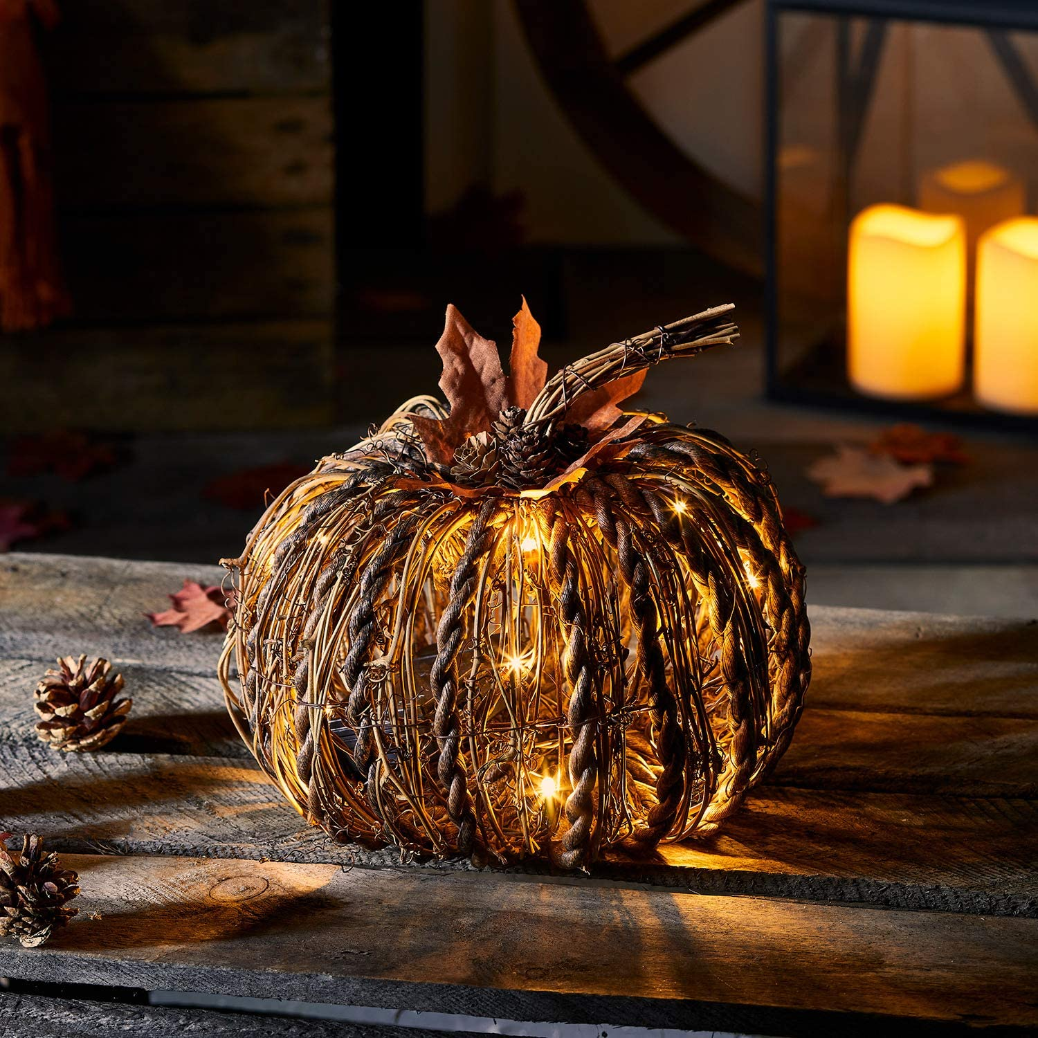 Lights4fun, Inc. Rattan Pumpkin Battery Operated LED Fall Thanksgiving Indoor & Outdoor Lighted Decoration