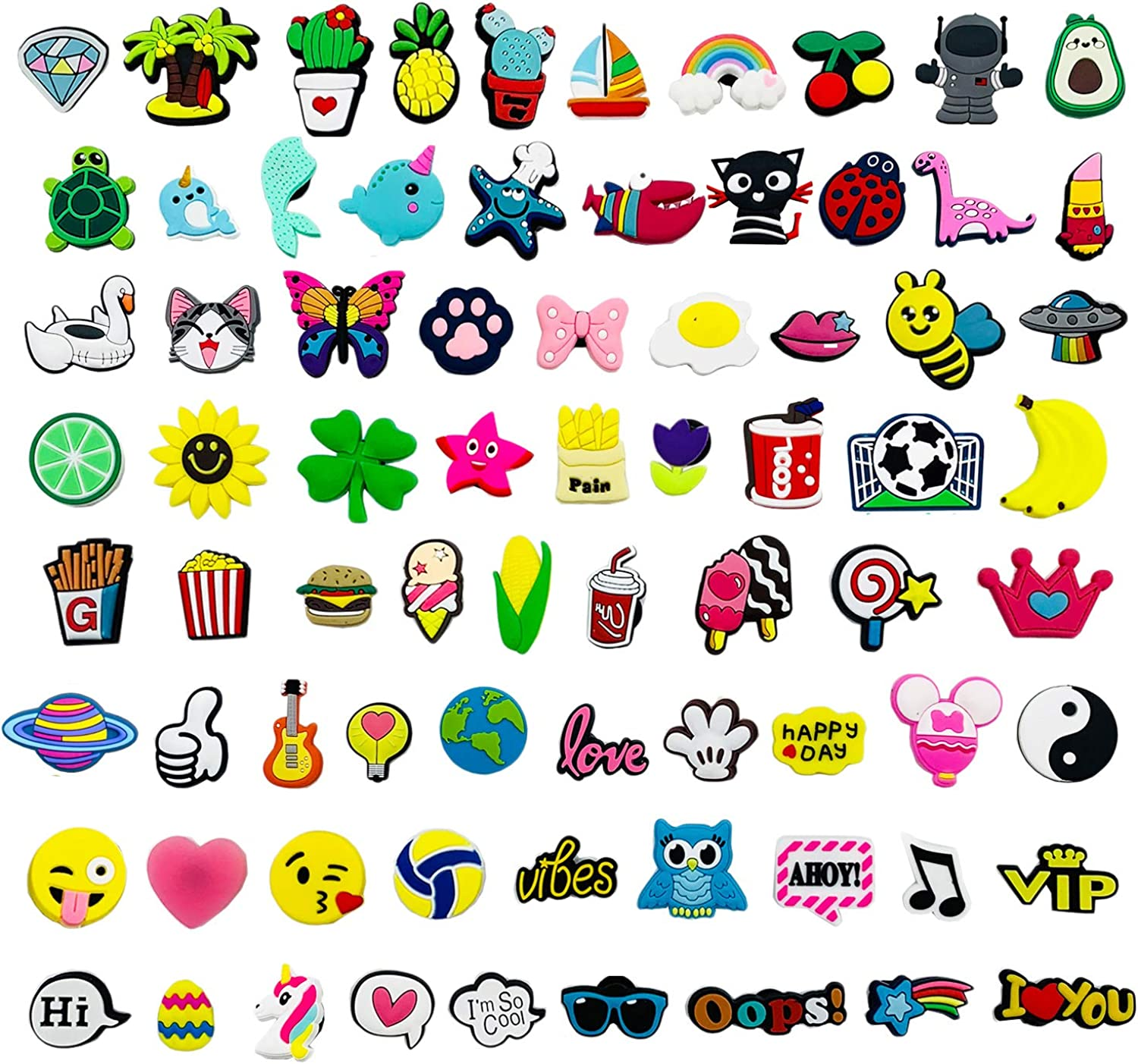 Kinear 75pcs Cute Different Shape Shoes Charms for Shoes Bands Bracelet Wristband Party Gifts, Medium