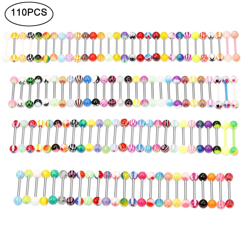 Thunaraz 110Pcs 14G Assorted Colors Mixed Barbells Body Piercing Nipple Tongue Rings Jewelry UK_B07BJXYX5M