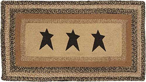 VHC Brands 10128 Primitive Flooring Prim Grove Star Jute Stenciled Rectangle 27×48 Rug