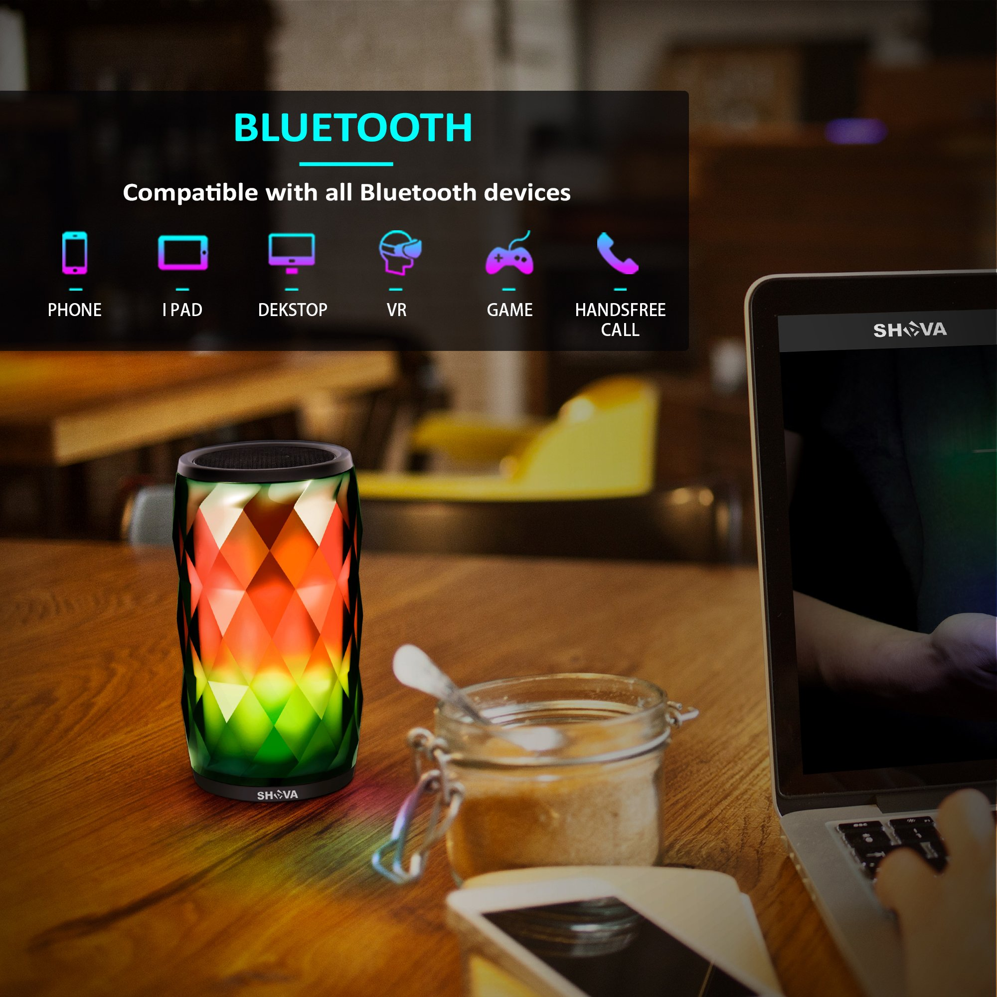 Night Light Bluetooth Speaker, SHAVA Jewel Portable Wireless Bluetooth Speaker Touch Control RGB Speaker 6 Color LED Themes Bedside Table Lamp, Speakerphone/PC/