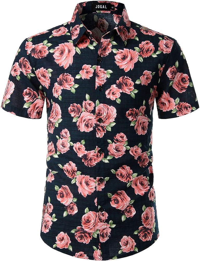 JOGAL - Camisa hawaiana de manga corta para hombre, diseño floral Rosa marino. S: Amazon.es: Ropa y accesorios