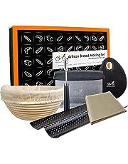 "Bread Baking Kit Gift Set | 9"" Banneton Bread Proofing Basket | 2 Baguette Baking Pan | Bread Lame | 100% Flax Linen Couche Made in France | Dough Scraper | Dough Cutter"