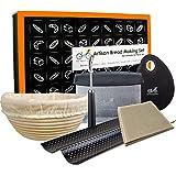 "Bread Baking Kit Gift Set | 9"" Banneton Bread Proofing Basket | 2 Baguette Baking Pan | Bread Lame | Flax Linen Couche | Dough Scraper | Dough Cutter"