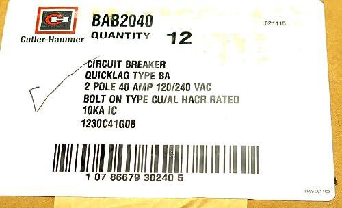 Cutler Hammer BAB2040 2 Pole 40Amp Circuit Breaker