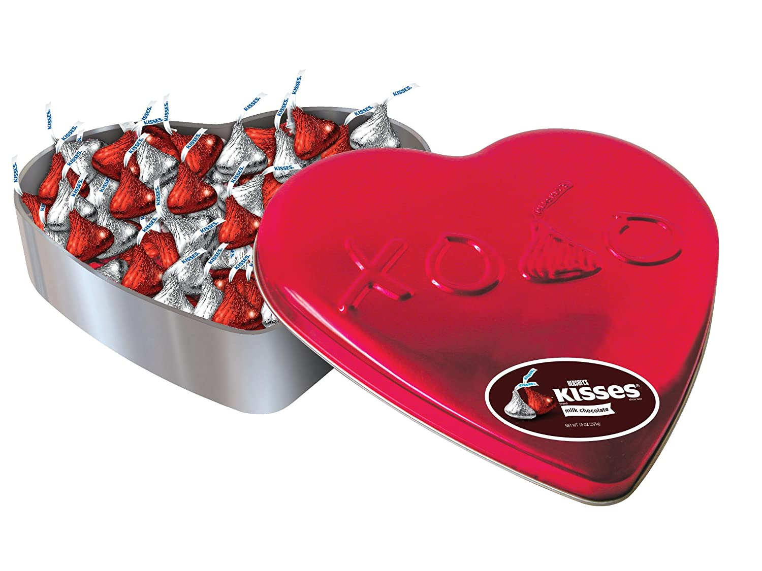Amazon.com : Hersheyu0027s Valentineu0027s Kisses Milk Chocolate, 10 Ounce Heart  Tin : Chocolate Assortments And Samplers : Grocery U0026 Gourmet Food