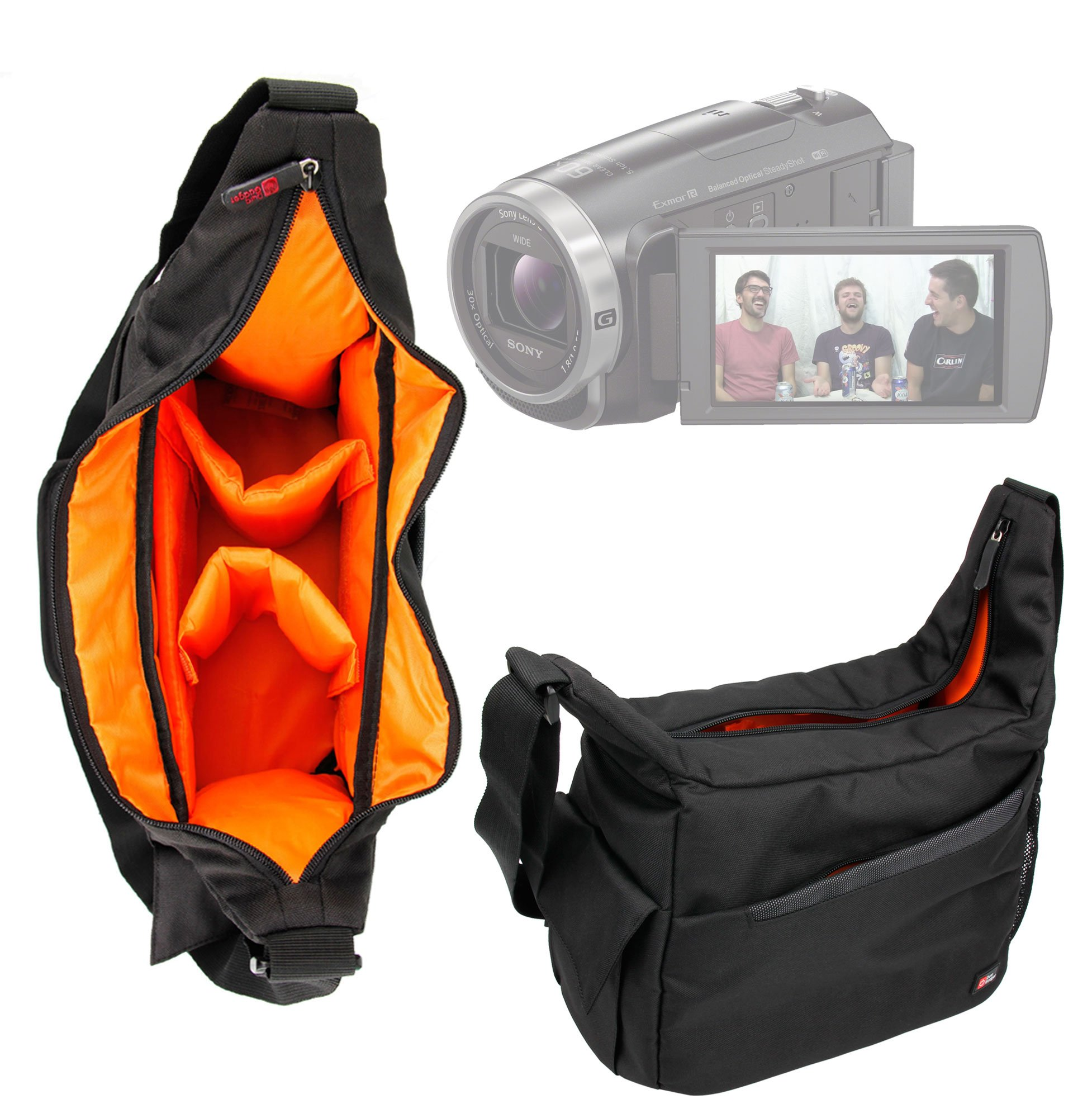 DURAGADGET Premium Quality Shoulder 'Sling' Bag in Black & Orange - Suitable for Sony FDR-AX53 4K Handycam - with Adjustable Padded Interior by DURAGADGET