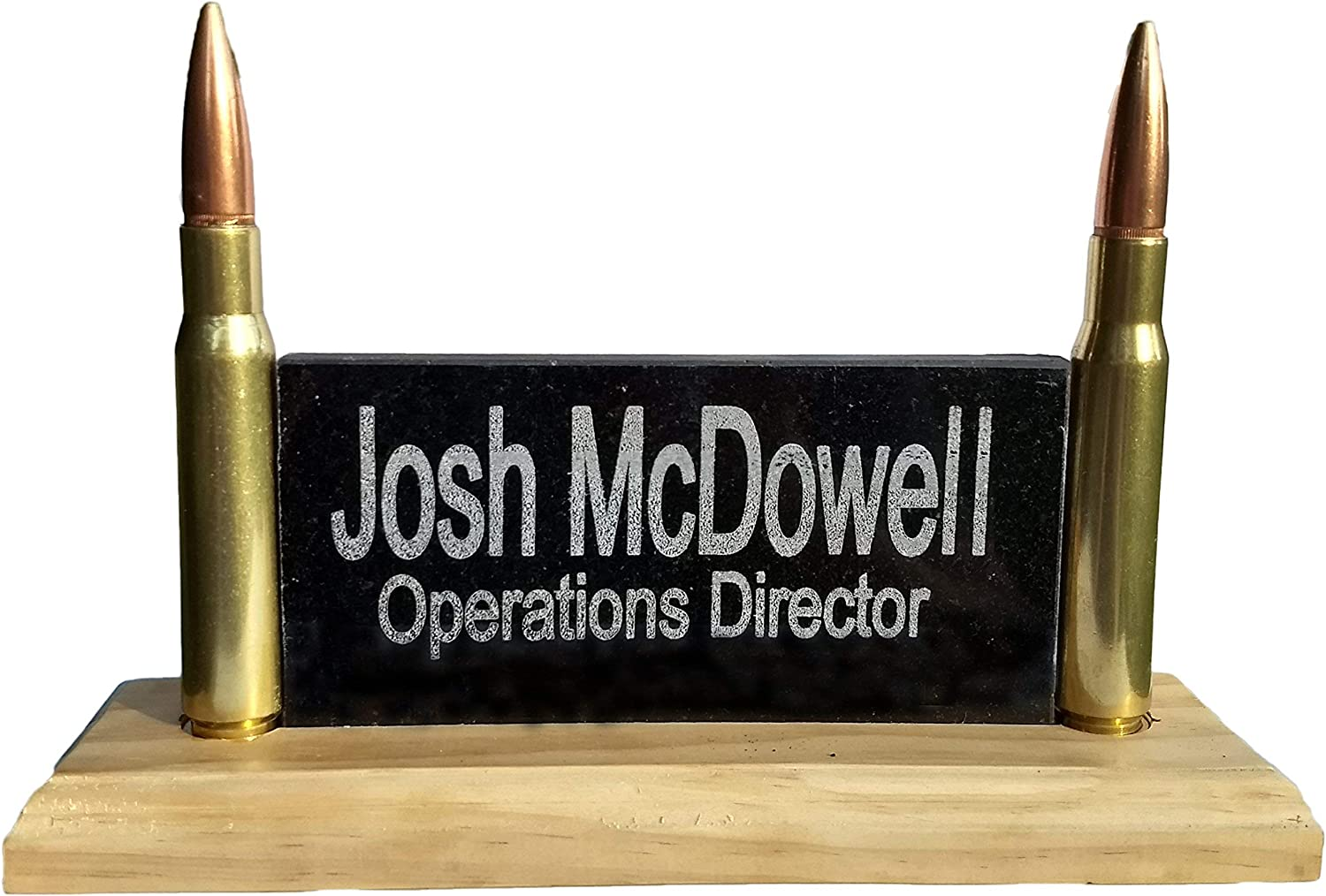 Desk Name Plate Personalized | Engraved Granite ; Real Solid Wood | Made in USA | Real 50 Cal Bullets | Great for Army, Navy, Marine or Police