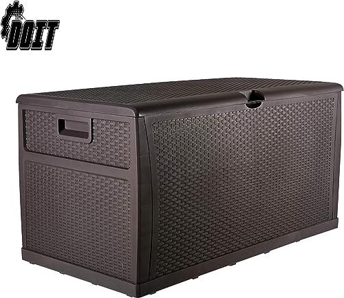 DOIT 120 Gallon Outdoor Patio Deck Box Plastic Wicker Storage Bench Box Brown