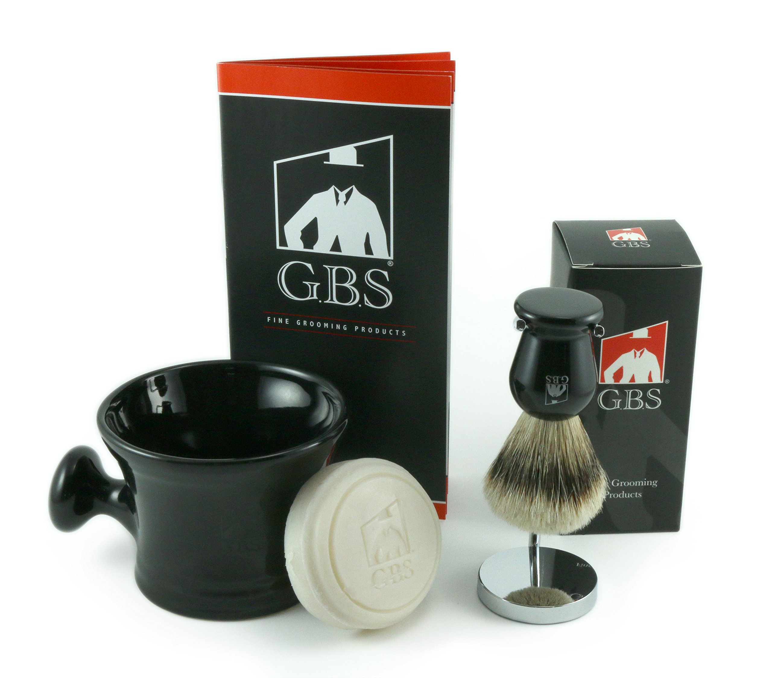Men's Deluxe Grooming Set with Shaving Mug with Knob Handle, 100% Silvertip Badger Brush, Brush Stand and 97% All Natural Gbs Ocean Driftwood Shave Soap