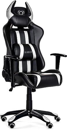 Diablo X One Horn Chaise Gaming De Bureau Mécanisme D Inclinaison Accoudoirs Réglables Coussin Lombaire Cuir Artificiel Chargeable Jusqu à 150 Kg