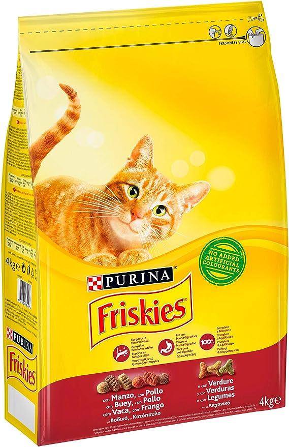 Friskies Crocchette Gatto Adulto con Manzo, Pollo e Verdure Aggiunte - 4 kg: Amazon.es: Productos para mascotas