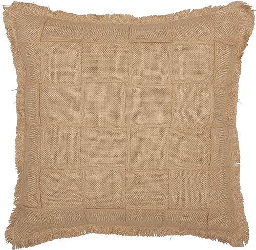 VHC Brands Jute Burlap Natural Basket Weave Throw-Pillows, 18×18