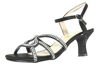 a59e03aeed Amiana Women's Rhinestone Kitten Heel Dress Sandal, Black Satin, ...