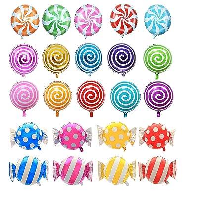 "21 pcs 18"" Sweet Candy Balloons, Round Lollipop Balloon Birthday Wedding Party Balloons: Toys & Games"