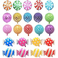 "21 pcs 18"" Sweet Candy Balloons, Round Lollipop Balloon Birthday Wedding Party Balloons"