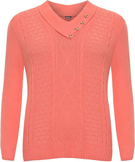 c494682db5 WearAll Women s Plus Long Sleeve Sweater Top Cable Knitted V-Neck Jumper -  Coral -