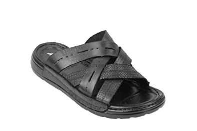 d94edc8f40c93 Mens Soft Real Leather Sandals Cross Straps Open Front Toe Beach Slippers  Black Brown  N15