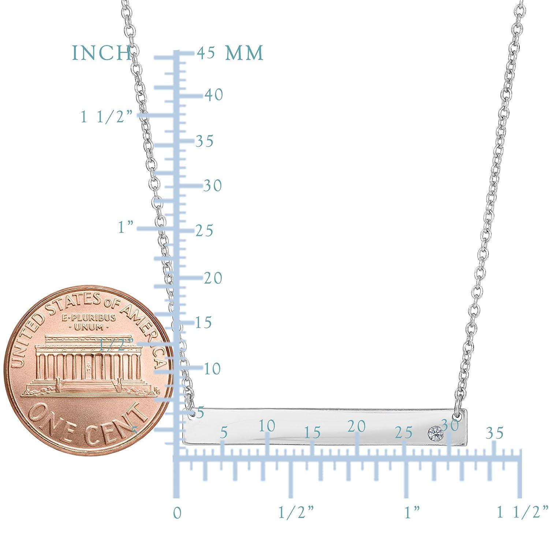 Sterling Silver Sideways Engravable Bar Pendant CZ Necklace, 18