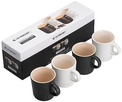 Le Creuset 91031500492010 tazas de café de cerámica, negro/blanco, 4 pcs