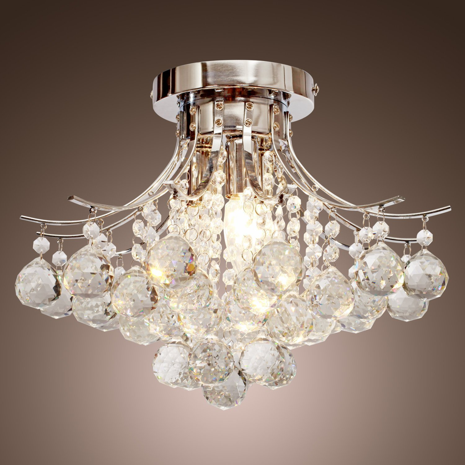 Spectacular LOCO Chrome Finish Crystal Chandelier with lights Mini Style Flush Mount Ceiling Light Fixture