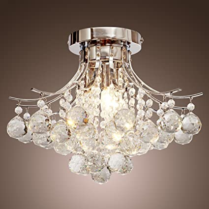 Locoâ chrome finish crystal chandelier with 3 lights mini style flush mount ceiling light fixture