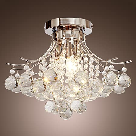 LOCO Chrome Finish Crystal Chandelier with 3 Lights, Mini Style Flush Mount Ceiling Light Fixture for Study Room Office, Dining Room, Bedroom, Living Room