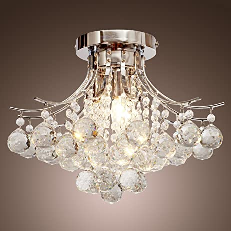 LOCOÂ Chrome Finish Crystal Chandelier with 3 lights, Mini Style ...