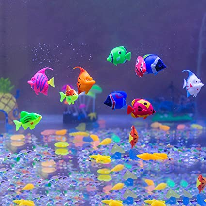 Aquarium Decorations Govine 12pcs Plastic Artificial Fish For
