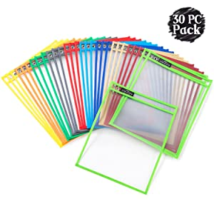 Dry Erase Pockets Sheet Protectors - Reusable + Oversized - Size 10 X 13 Inches - 30 Plastic Sleeves - Mixed Colors - Ideal to use at School or at Work