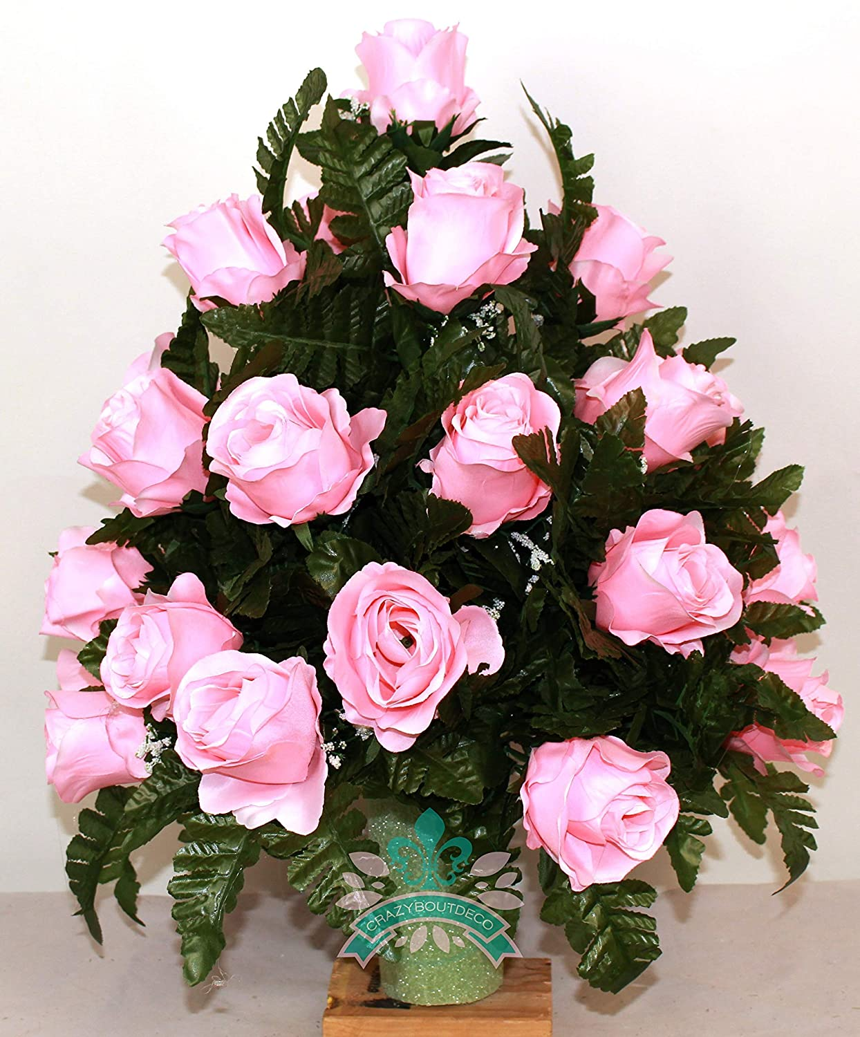Beautiful XL Pink Roses Cemetery Flowers for a 3 Inch Vase