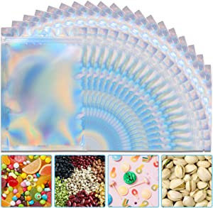 50 Pieces 5'' x 8'' Holographic Bags Resealable Smell Proof Bags Holographic Rainbow Color Bags Foil Pouch Ziplock Bags for Party Favor Food Storage, Coffee Beans, Candy & Jewelry Packaging