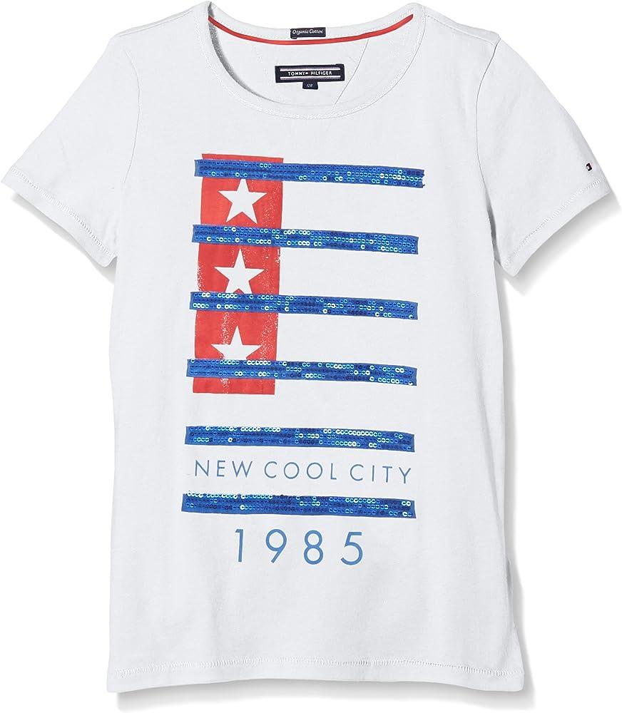 Tommy Hilfiger Shannon Camiseta, Blanco (Classic White), 8 años para Niños: Amazon.es: Ropa y accesorios