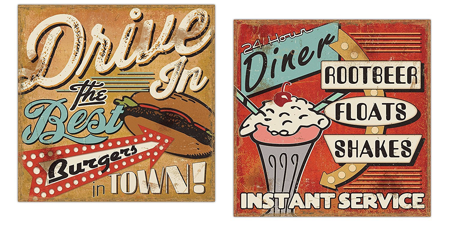 Gango Home Décor 50's Style Diner Signs; Burgers, Milkshakes, Floats and Milkshakes by Pel Studios; Two 12x12in Paper Posters
