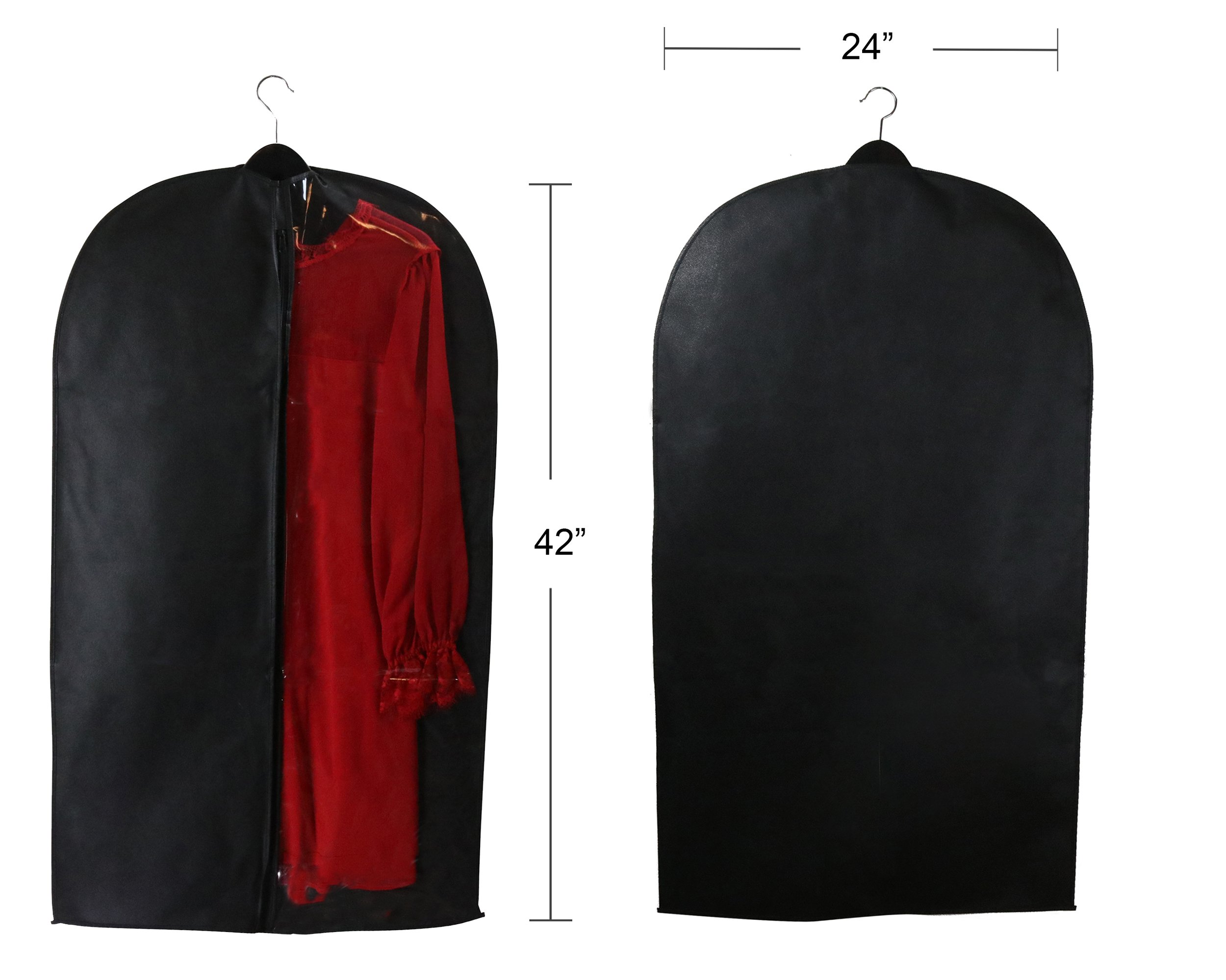 Caskyan 42'' Garment Bags, Breathable Black Non-Woven Fabric + Clear PVC for Dresses, Coats, Suits, Storage or Travel- 2 Pcs by CASKYAN (Image #4)