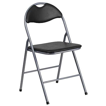 Marvelous Flash Furniture HERCULES Series Black Vinyl Metal Folding Chair With  Carrying Handle