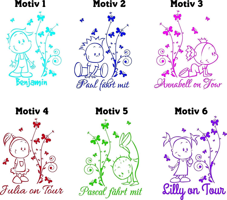 *NEU* Baby /& Kinder Autoaufkleber//Scheibentattoo mit eigenem Wunschtext ***freie Farb. Links Motiv 6 und Schriftartwahl!*** by A/&D design