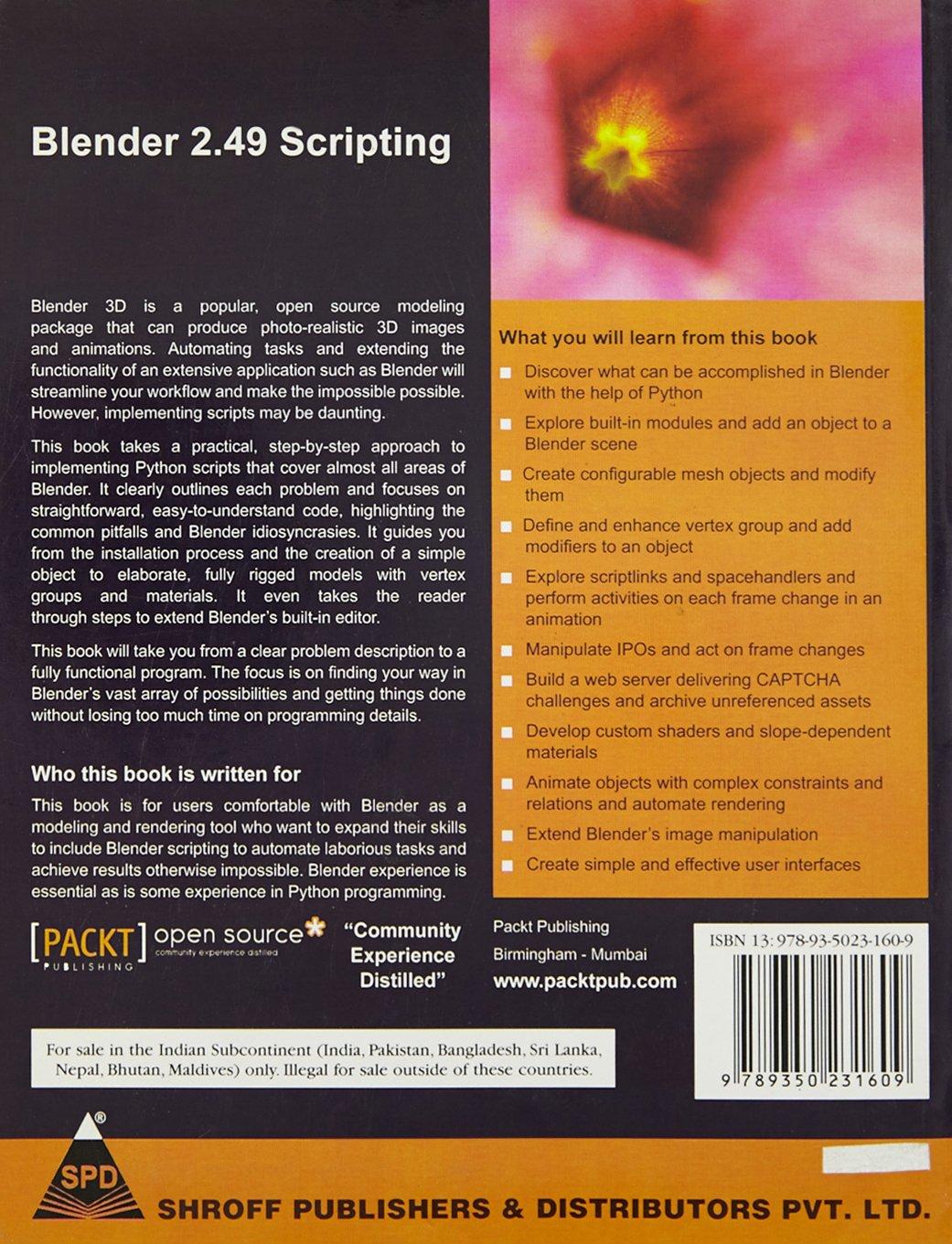 BLENDER 2 49 SCRIPTING: 9789350231609: Amazon com: Books