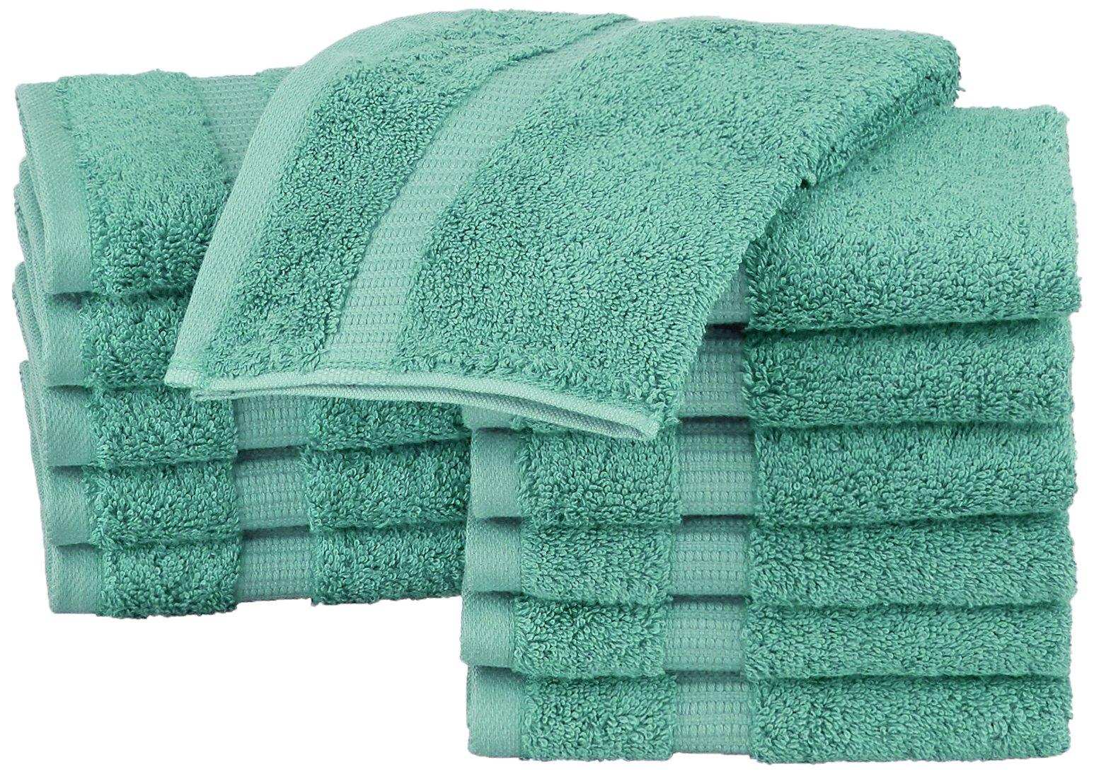 Pinzon Organic Cotton Washcloths (12 Pack), Mineral Green