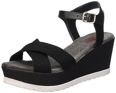 Shoot Shoes Sh 160181b Damen Sommer Keil Leder Sandale Plateau